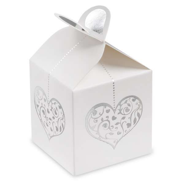 Picture of White Box with Silver Foil Heart