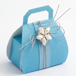 Picture of Blue Silk Favour Box