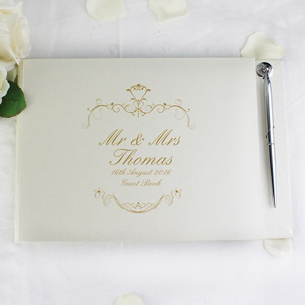 Picture of Gold Ornate Swirl Guest Book & Pen