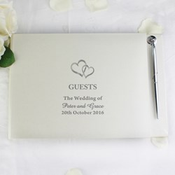 Picture of Hardback Guest Book & Pen Hearts Design