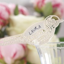 Picture of Bird Place Card for Glass Ivory - Vintage Lace