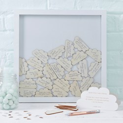 Picture of Cloud Drop Top Frame Guest Book - Hello World