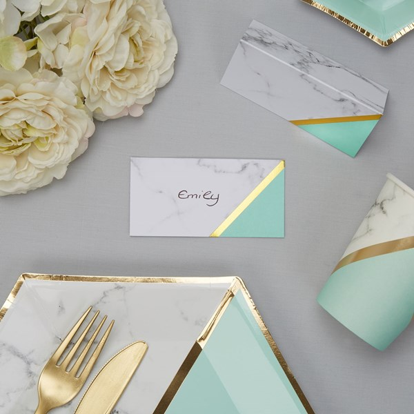 Picture of Place Cards - Colour Block Marble - Mint