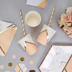 Picture of Paper Cup - Colour Block Marble - Peach
