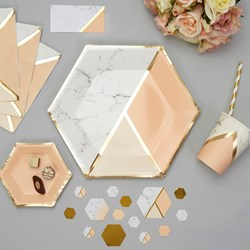 Picture of Large Paper Plates - Colour Block Marble Plate - Peach