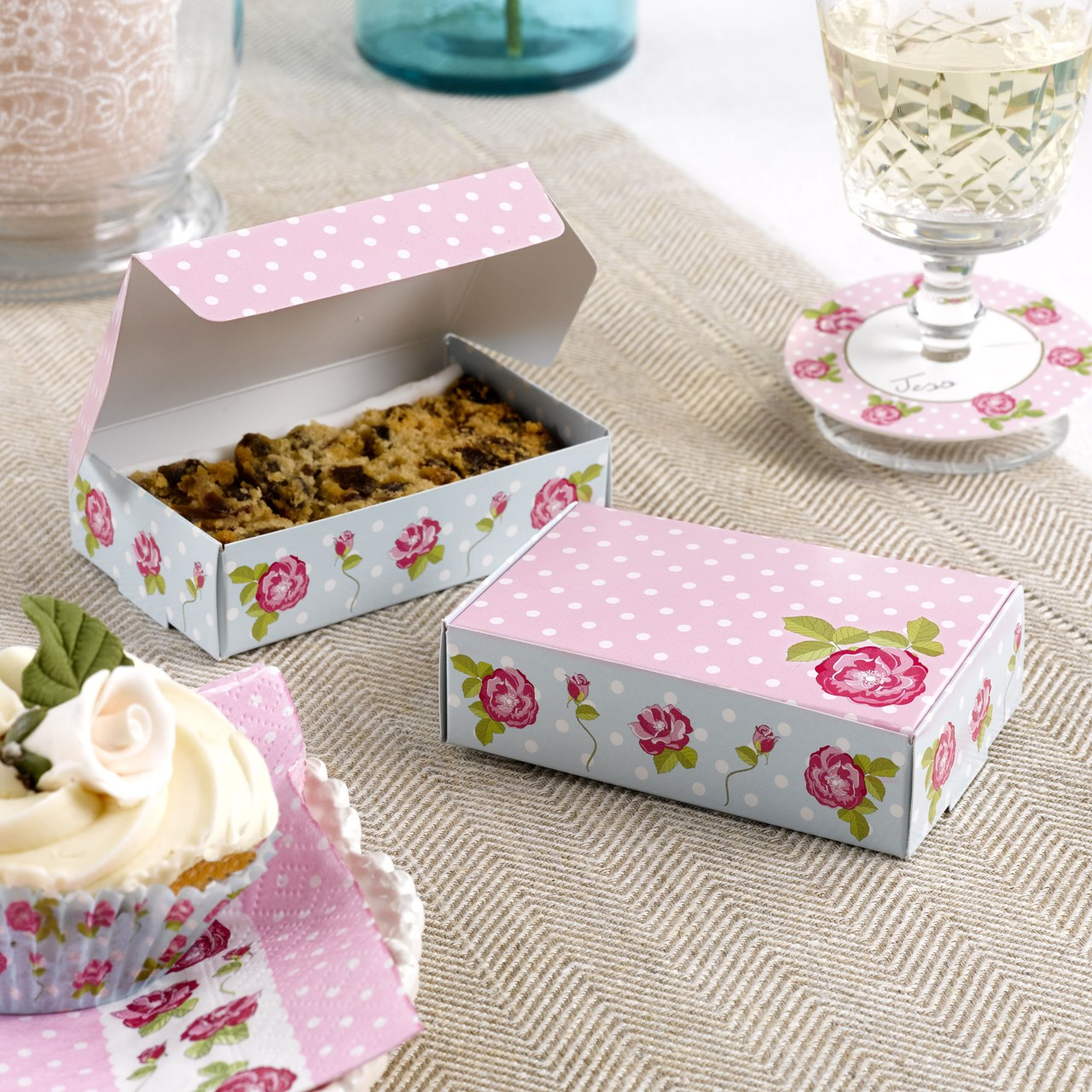 Cake Boxes Vintage Rose Uk Wedding Favours