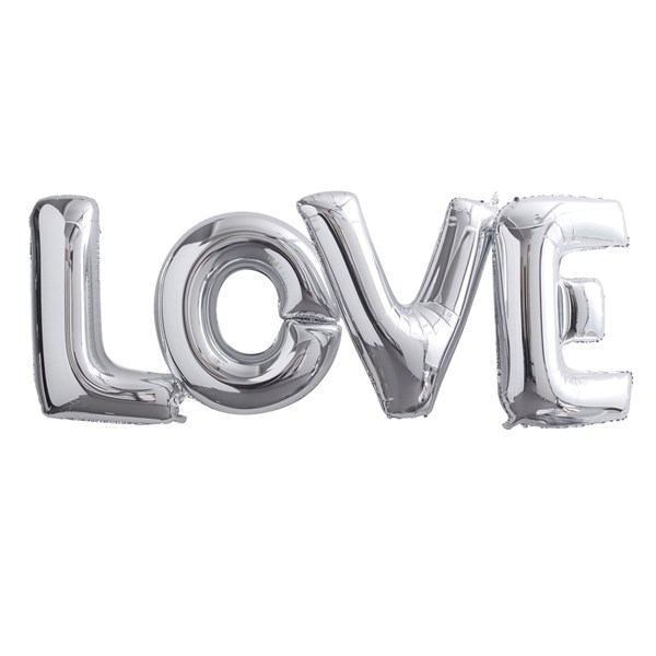 Picture of Foiled Love Balloon - Large Silver