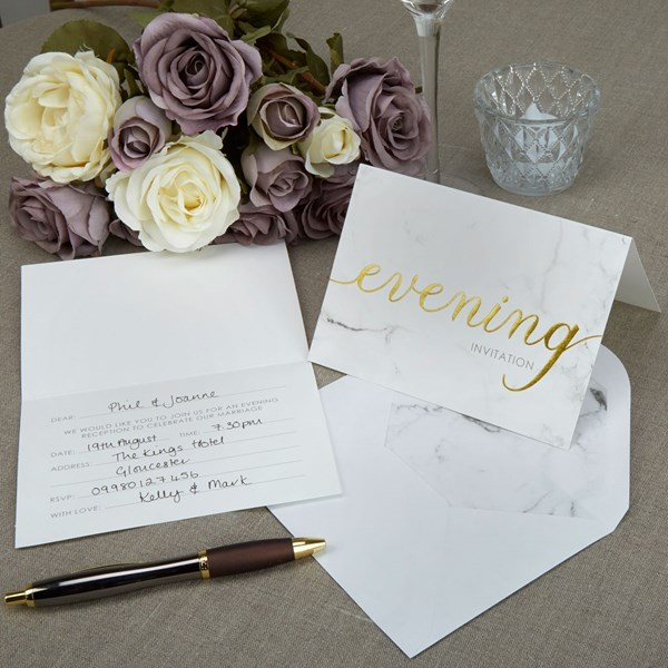 Picture of Evening Invites+Envelopes - Scripted Marble