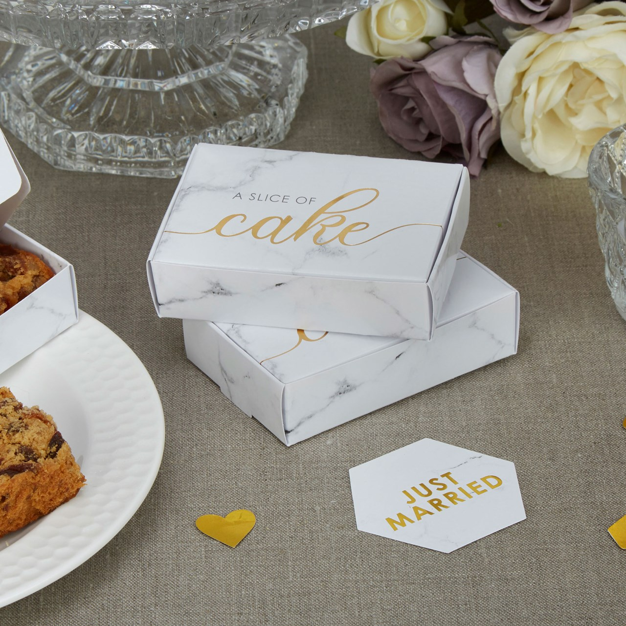Cake Boxes Scripted Marble Uk Wedding Favours