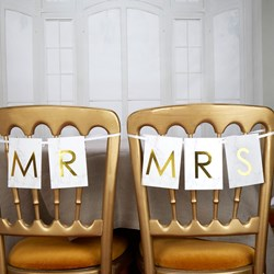 Picture of Mr & Mrs Chair Bunting - Scripted Marble