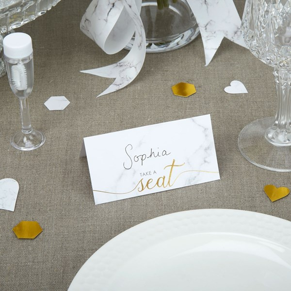 Picture of Place Cards - Scripted Marble