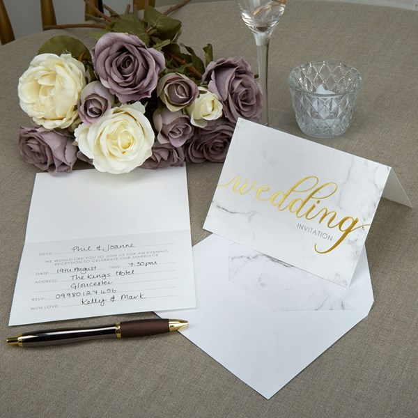 Picture of Day Invitations+Envelopes - Scripted Marble