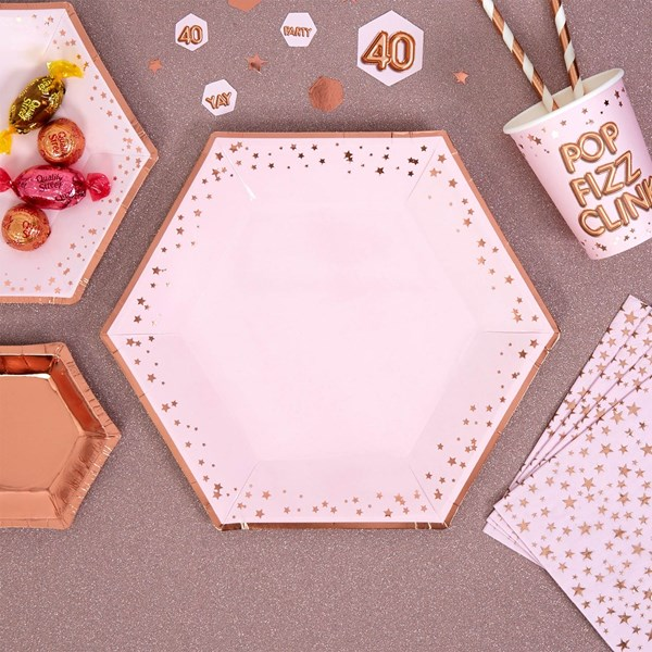 Picture of Large Paper Plates - Pink & Rose Gold - Glitz & Glamour