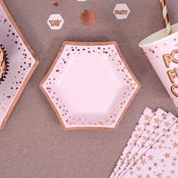 Picture of Small Paper Plates - Pink & Rose Gold - Glitz & Glamour