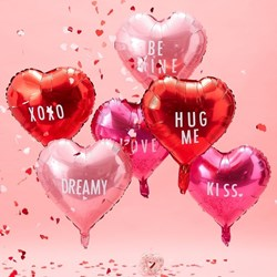 Picture of Heart Foiled Balloons With Stickers - Be My Valentine