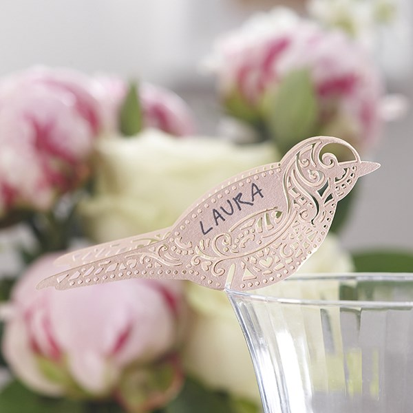 Picture of Bird Place Card for Glass Pink - Vintage Lace
