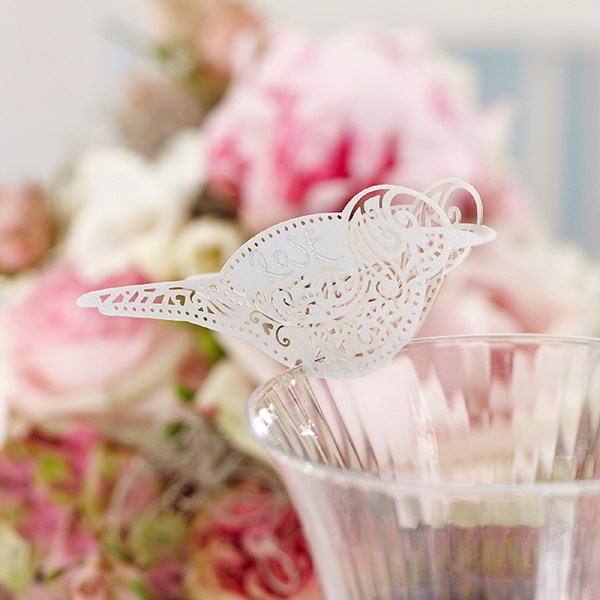 Picture of Bird Place Card for Glass White - Vintage Lace