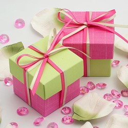 Picture of DIY Two Tone Boxes in Bright Pink & Light Green Silk