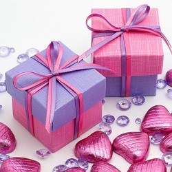 Picture of DIY Two Tone Boxes in Bright Pink & Lilac Silk