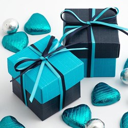 Picture of DIY Two Tone Boxes in Turquoise & Navy Silk
