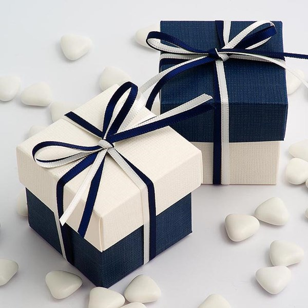 Picture of DIY Two Tone Boxes in White & Navy Silk