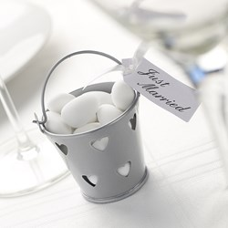 Picture of Favour Pails - Heart Design in Silver