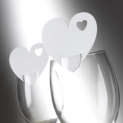 Picture of Heart Place Cards for glass in White (special offer)