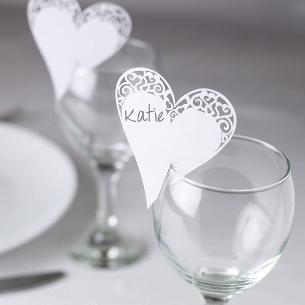 Picture of Place Card on Glass - Laser Cut White Heart