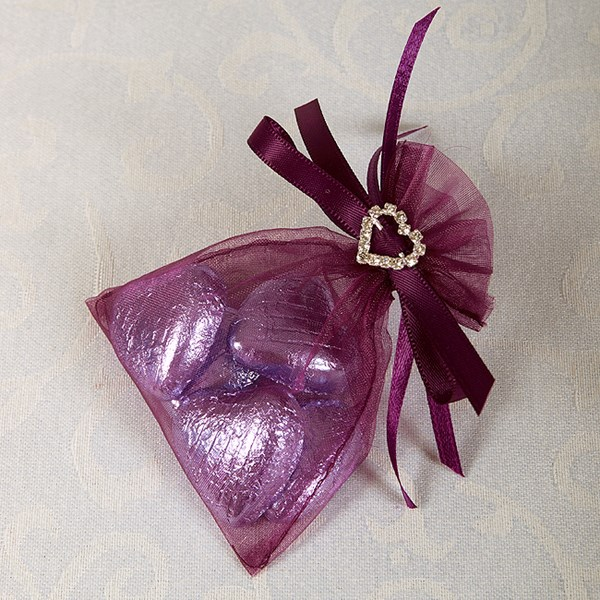 Picture of Ready Made Organza and Diamante Pouch in Aubergine