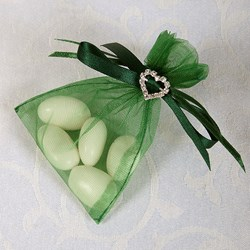 Picture of Ready Made Organza and Diamante Pouch in Bottle Green