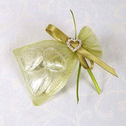 Picture of Ready Made Organza and Diamante Pouch in Olive Green