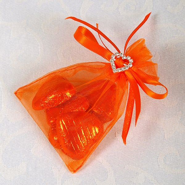 Picture of Ready Made Organza and Diamante Pouch in Orange