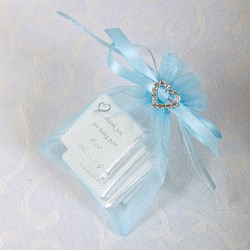 Picture of Ready Made Organza and Diamante Pouch in Pale Blue