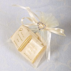 Picture of Ready Made Organza and Diamante Pouch in Pale Ivory