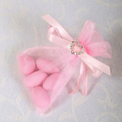 Picture of Ready Made Organza and Diamante Pouch in Pink