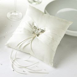 Picture of Ring Cushion - Elegant Butterfly in Ivory