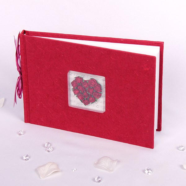 Picture of Simply Roses Guest Book - Burgundy Heart Design