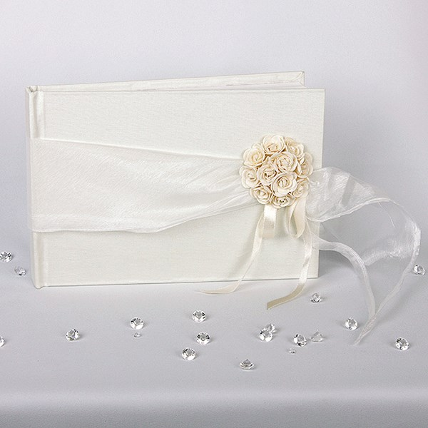 Picture of Simply Roses Guest Book - Organza and Roses Design