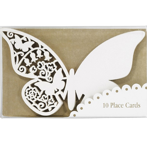 Picture of Something in the Air Butterfly Place Cards for Glass in Ivory