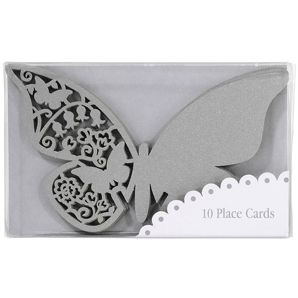 Picture of Something in the Air Butterfly Place Cards for Glass in Silver