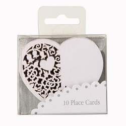 Picture of Something in the Air Heart Place Cards for Glass in Ivory