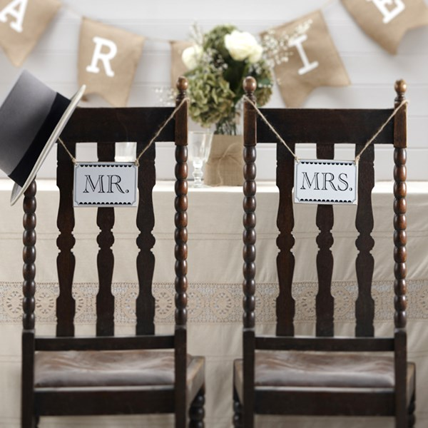 Picture of Vintage Mr and Mrs Chair Signs