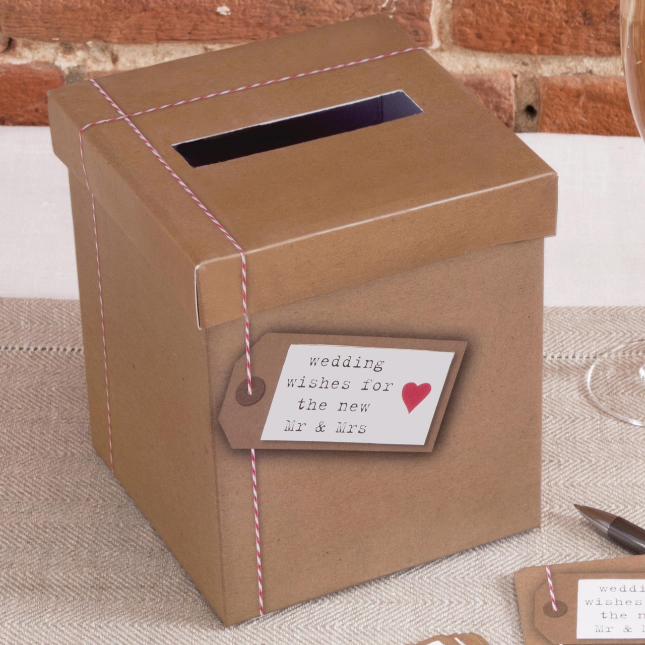 Vintage Romance Wedding Card Post Box Colour Silver Christmas