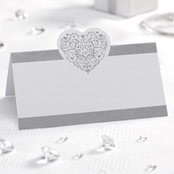 Picture of Vintage Romance - Place Card - White/Silver