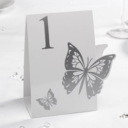 Picture of Elegant Butterfly - Table Numbers - White/Silver