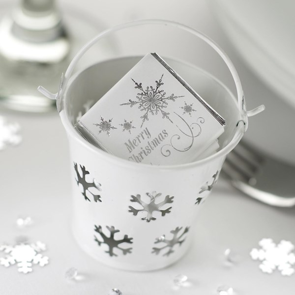 Picture of Snowflake Favour Pails - White