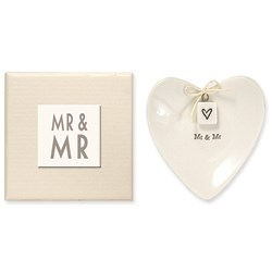 Picture of East of India Heart Shaped Ring Dish - Mr & Mr