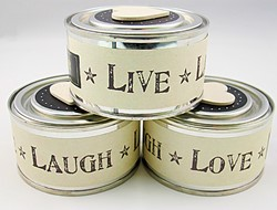 Picture of East of India Tin Candles - Live Laugh Love
