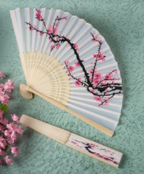 Picture of Delicate Cherry Blossom Design Silk Folding Fan Favour
