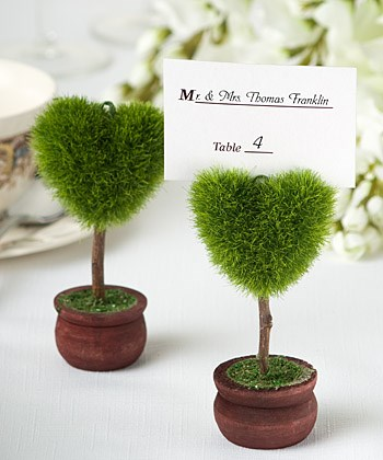 Picture of Unique Heart Design Topiary Place Card Holder
